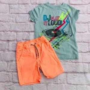 Boys Cat & Jack neon summer shorts & shirt